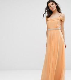 Платье макси с открытыми плечами и отделкой TFNC WEDDING - Оранжевый