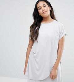 Платье-футболка миди с драпировкой ASOS CURVE - Серый