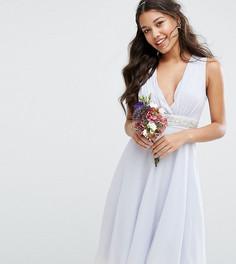 Платье миди с глубоким вырезом и отделкой TFNC WEDDING - Синий