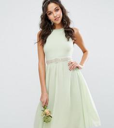 Декорированное платье миди с пышной юбкой TFNC WEDDING - Зеленый