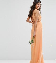 Платье макси с плиссировкой и отделкой сзади TFNC WEDDING - Оранжевый