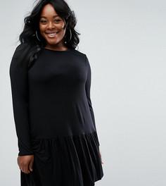 Платье-трапеция с оборкой по нижнему краю ASOS CURVE - Черный