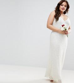 Платье макси на бретельках с декоративной отделкой ASOS CURVE BRIDAL - Кремовый