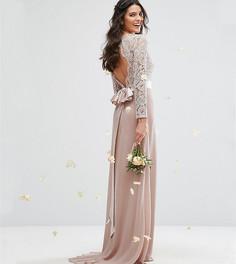 781c5a88fa9 Кружевное платье макси с бантом сзади TFNC WEDDING - Розовый