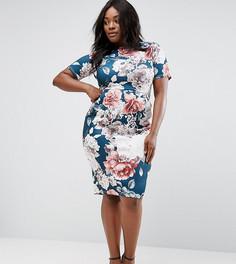 Платье с синим цветочным принтом ASOS CURVE - Мульти