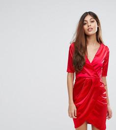 Атласное платье миди с запахом спереди Club L - Красный