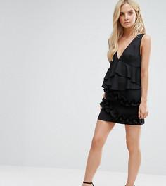 Мини-юбка с двойными оборками ASOS PETITE - Черный