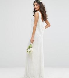 Свадебное платье макси с драпированным вырезом на спине и отделкой Amelia Rose - Белый