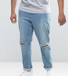 Голубые джинсы скинни с рваными коленями ASOS PLUS - Синий