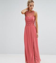 Платье макси с кружевным верхом и поясом Little Mistress Petite - Розовый
