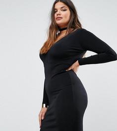 Облегающее платье с глубоким вырезом Missguided Plus - Черный