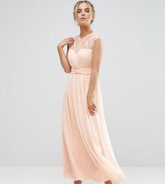 Платье макси с фигурным кружевом на лифе и складками Little Mistress Petite - Бежевый