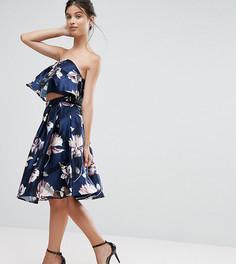 Комбинируемая жаккардовая юбка миди с цветочным принтом Chi Chi Petite - Мульти