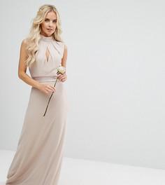Платье макси с высоким воротом и бантом сзади TFNC Petite Wedding - Розовый