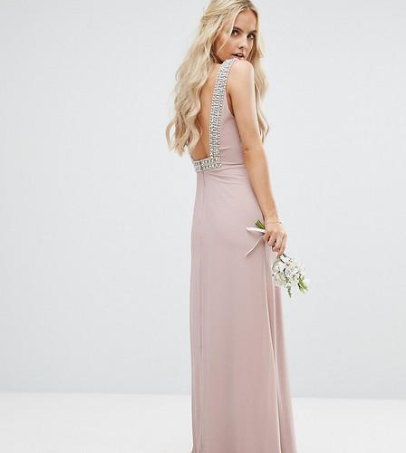 Платье макси с открытой спиной и отделкой TFNC Petite Wedding - Розовый
