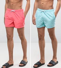 2 пары коротких шортов для плавания (голубые/розовые) ASOS - СКИДКА - Мульти