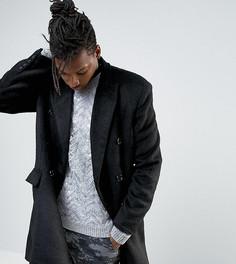 Черное двубортное пальто с добавлением шерсти Mennace - Темно-синий