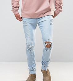 Светлые джинсы скинни с брызгами краски Mennace - Синий