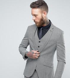 Приталенный твидовый пиджак в ломаную клетку Heart & Dagger - Серый