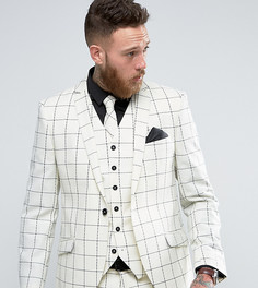 Зауженный клетчатый пиджак из ткани с добавлением шерсти Heart & Dagger - Белый