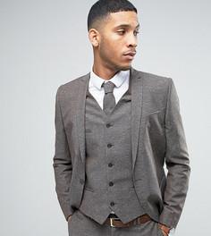Свадебный пиджак скинни из ткани с добавлением льна в крапинку Noak - Коричневый