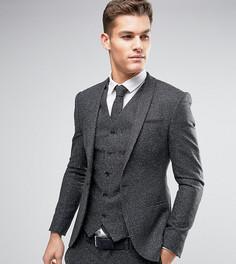 Супероблегающий шерстяной пиджак в крапинку Noak - Серый