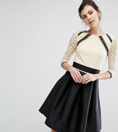Кружевное платье 2-в-1 с контрастной юбкой Little Mistress Tall - Мульти