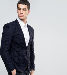 Супероблегающий пиджак с бархатистой отделкой Noak - Темно-синий