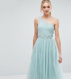 Платье миди на одно плечо с пышной юбкой из тюля и кружевом Little Mistress Tall - Зеленый