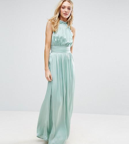 Плиссированное платье макси для выпускного с оборкой Little Mistress Tall - Зеленый