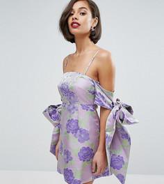 Жаккардовое платье мини с открытыми плечами и бантом-завязкой ASOS PETITE SALON - Фиолетовый
