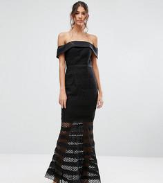 Кружевное платье миди с открытыми плечами и расклешенным подолом Jarlo Tall - Черный
