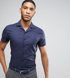 Фактурная приталенная рубашка с воротником в виде лацканов Noak - Темно-синий
