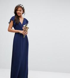 Платье макси с V-образным вырезом и рукавами рюшами TFNC Tall Wedding - Темно-синий