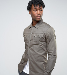 Рубашка скинни в стиле милитари Noak - Зеленый