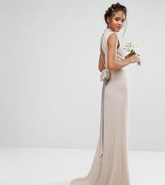 Платье макси с высокой горловиной и бантом TFNC Tall Wedding - Розовый