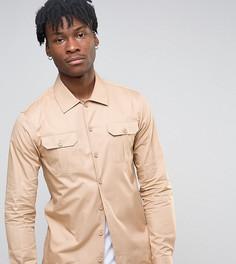 Рубашка скинни в стиле милитари Noak - Светло-серый