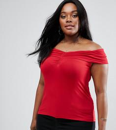 Топ с открытыми плечами и присборенной драпировкой ASOS CURVE - Красный