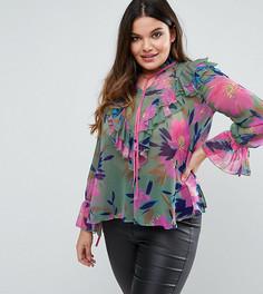 Блузка с цветочным принтом и рюшами ASOS CURVE - Мульти