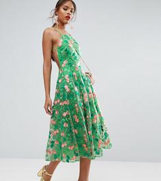 Платье для выпускного миди с открытой спиной и цветочной вышивкой ASOS TALL SALON - Мульти