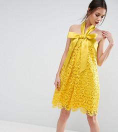 Кружевное платье-трапеция миди с бантом ASOS TALL SALON - Желтый