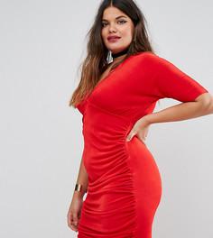 Облегающее платье со сборками Missguided Plus - Красный