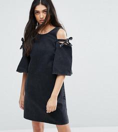 Джинсовое цельнокройное платье с открытыми плечами и бантами ASOS TALL - Черный