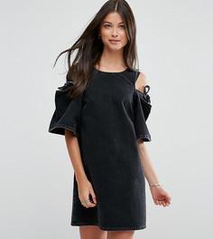 Джинсовое цельнокройное платье с бантом ASOS PETITE - Черный