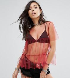 Прозрачная ярусная футболка в винтажном стиле с баской Milk It - Красный