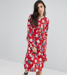 Платье миди с цветочным принтом и оборками Milk It - Мульти