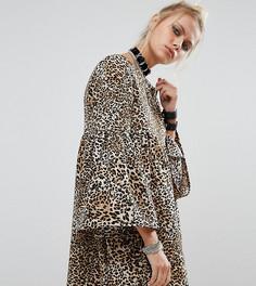 Платье с присборенной юбкой и леопардовым принтом Milk It - Мульти