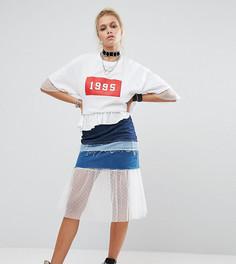 Джинсовая юбка со вставками в винтажном стиле Milk It - Синий
