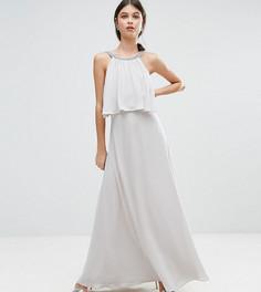 Платье макси с декорированным кроп-топом с лямками на спине ASOS PETITE - Серый