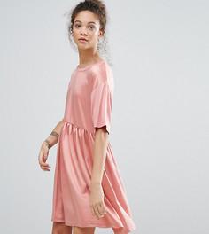 Атласное платье с присборенной юбкой ASOS PETITE - Мульти